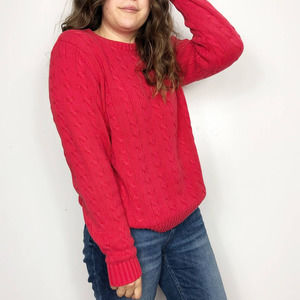 LANDS' END Red Chunky Cable Knit Sweater Crew Neck
